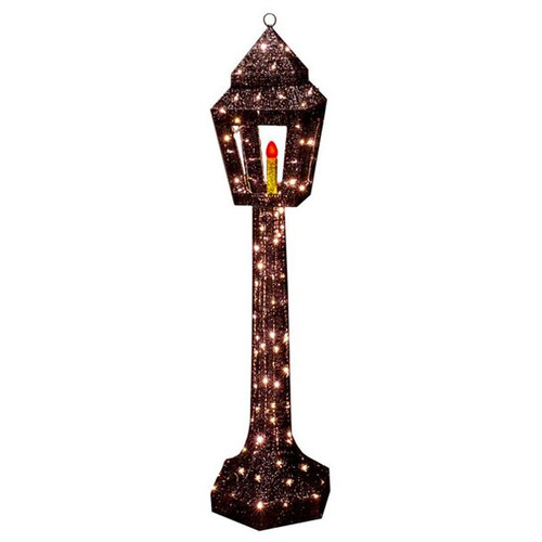 53 Inch Lighted Black Standing Lamp Post