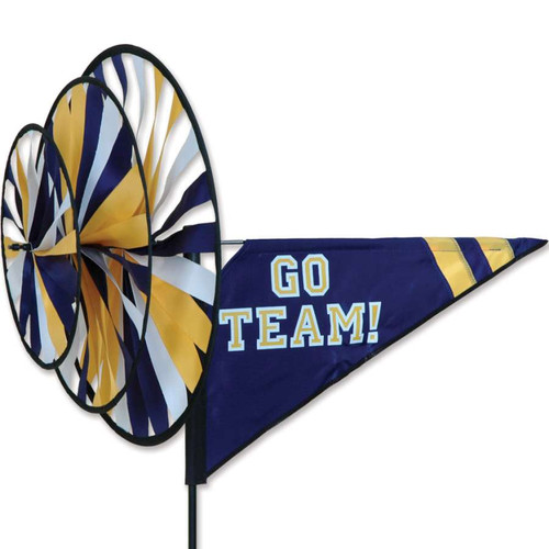 33 Inch Blue, White, Yellow Go Team Triple Wind Spinner