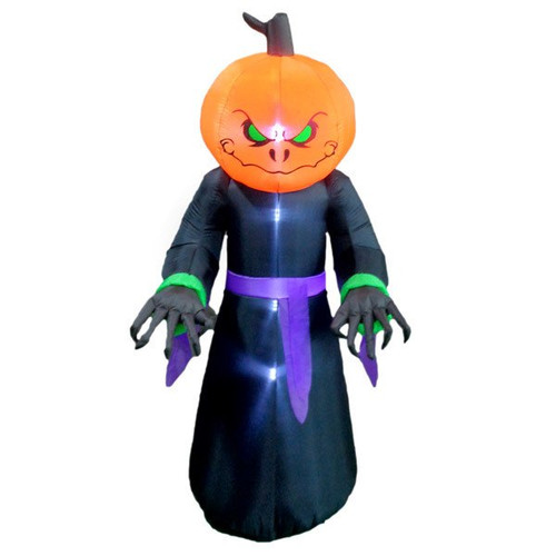 Pumpkin Monster Inflatable With Lights 8 Foot