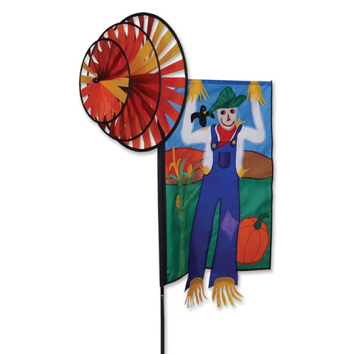 30 Inch Scarecrow Triple Wind Spinner Banner
