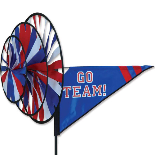 33 Inch Red, White, Blue Go Team Triple Wind Spinner