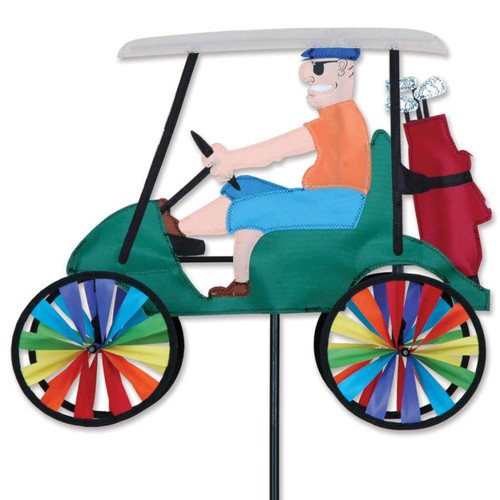 17 Inch Man Driving Green Golf Cart Wind Spinner