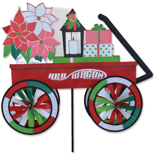 28 Inch Red Christmas Wagon Wind Spinner