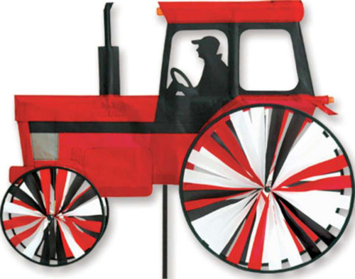 24 Inch Modern Red Tractor Wind Spinner