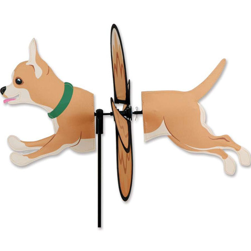 17 Inch Petite Tan and White Chihuahua Dog Wind Spinner