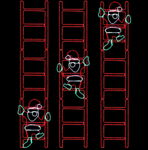 2x9 Foot Animated Santa Climbing Ladder Lighted Motif