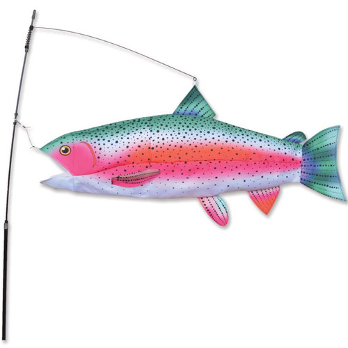 30 Inch Rainbow Trout Swimming Fish Wind Spinner