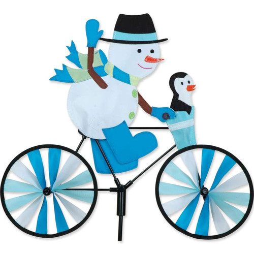 20 Inch Snowman With Hat Riding Bike Wind Spinner