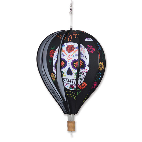 22 Inch Black Day of the Dead Hot Air Balloon Wind Spinner