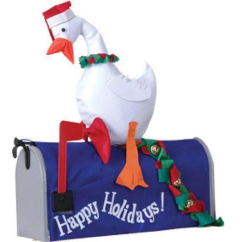 Happy Holidays Duck with Christmas Wreath Mailbox Cover