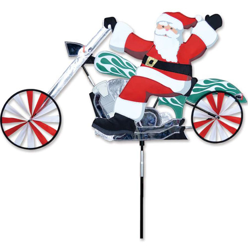 37 Inch Santa Claus Riding Chopper Motorcycle Wind Spinner