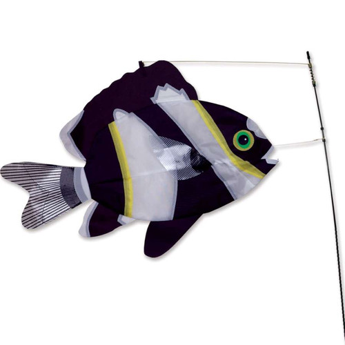 21 Inch Black and White Swimming Fish Wind Spinner