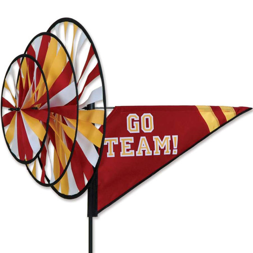 33 Inch Maroon and Yellow Go Team Triple Wind Spinner