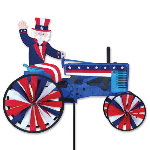 29 Inch Patriotic Uncle Sam on a Tractor Wind Spinner