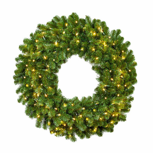 48 Inch Lighted Christmas Wreath With Warm White LED Lights