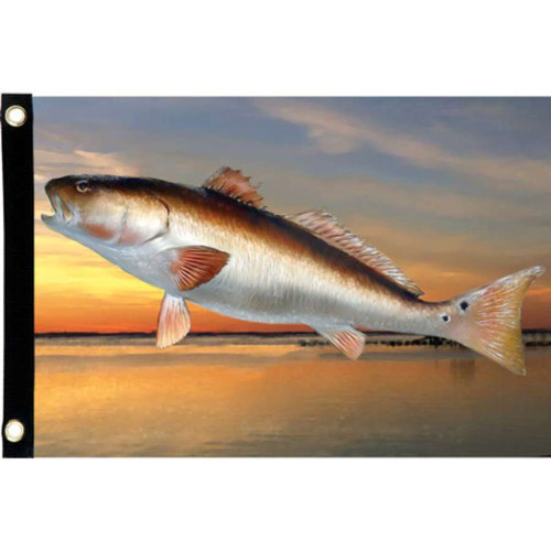 Jumping Red Drum Fish Seafarer Boating Flag