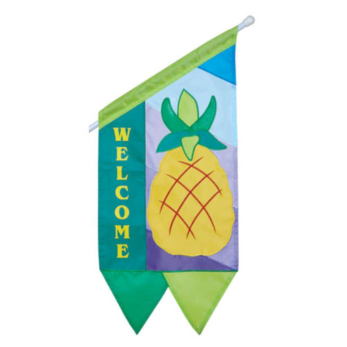 Welcome Diagonal Yellow Pineapple Business Flag