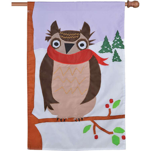 Brown Winter Owl With Red Scarf Applique Winter Flag