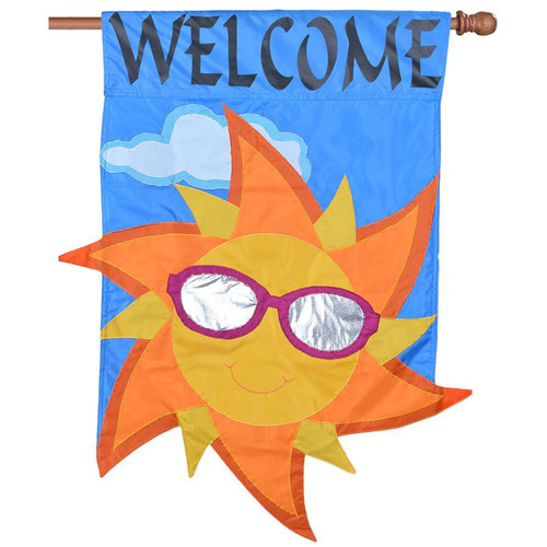 Welcome Sunshine With Sunglasses Applique Summer Flag