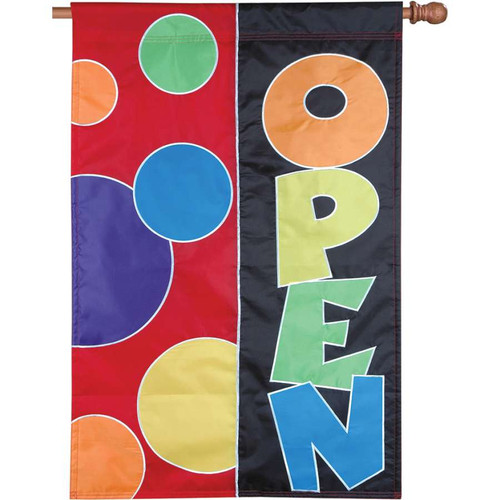 Rainbow Circles Open Commercial Applique Business Flag