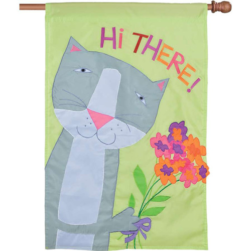 Hi There Gray Cat Holding Flower Bouquet Applique Flag