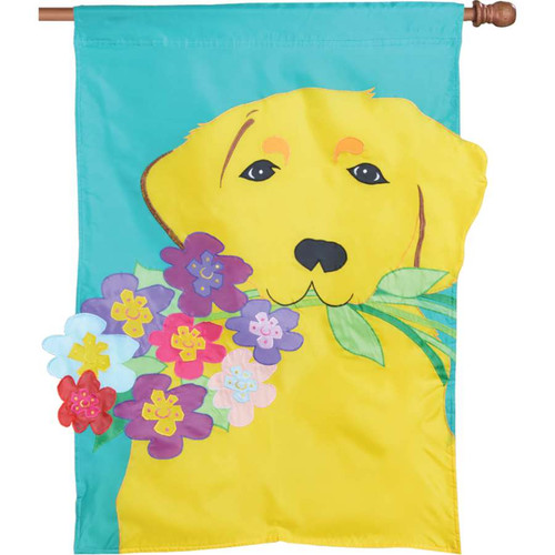 Golden Retriever Holding Flower Bouquet Applique Dog Flag