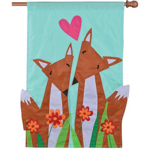 Foxy Pair In Love With Flowers Applique Fox Flag