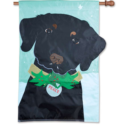 Christmas Black Lab With Peace Collar Applique Dog Flag