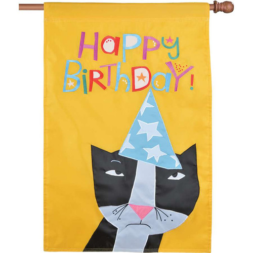 Happy Birthday Black and White Cat With Hat Applique Flag