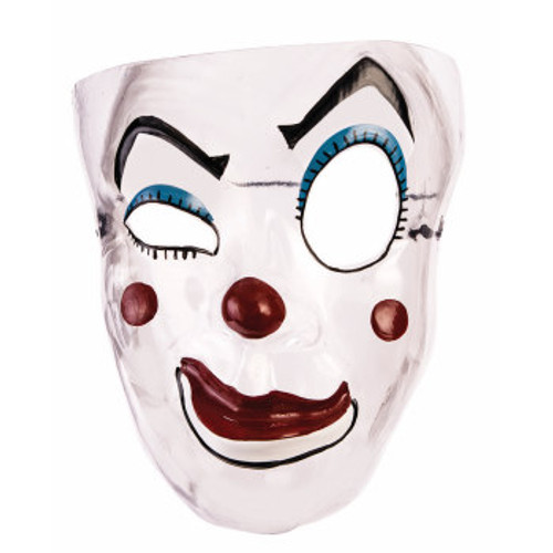 Adult Plastic Transparent Clown Mask With Headband