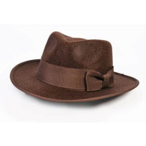 Kids Brown Adventure Fedora Hat with Bow