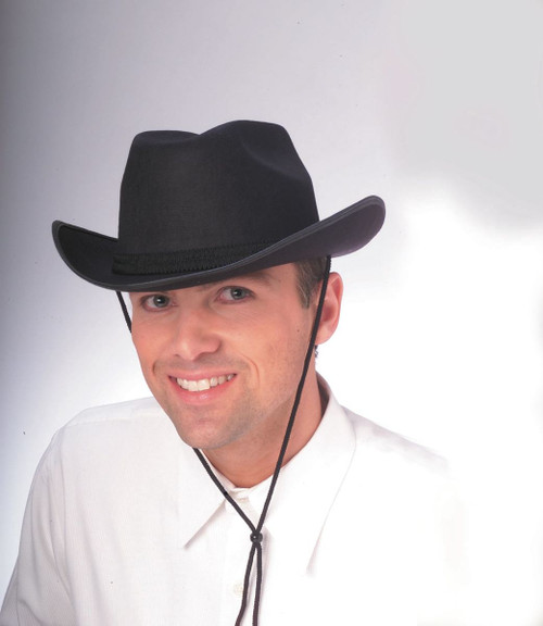 Adult Black Cowboy Hat with With Adjustable Cord