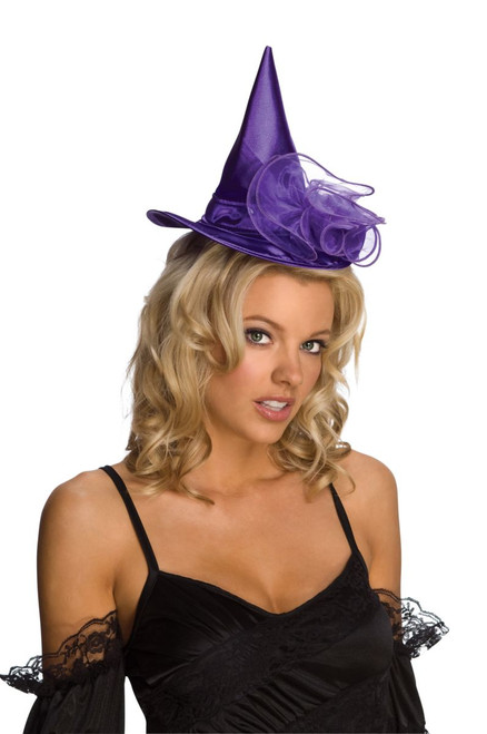 Adult Purple Velour Mini Witch Hat