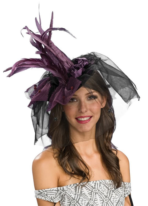Adult Purple Feathered Mini Witch Hat