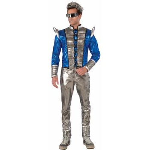 Adult Futuristic Fashion Blue and Silver Jacket