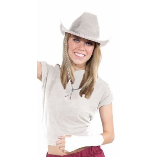 Adult White Cowboy Hat with With Adjustable Cord