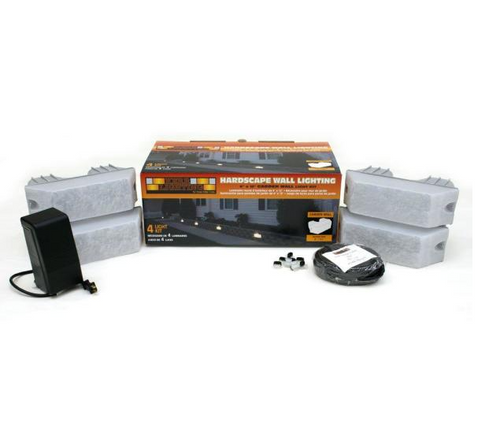 4 Pack River Stone Retaining Wall Light Kit With Transformer