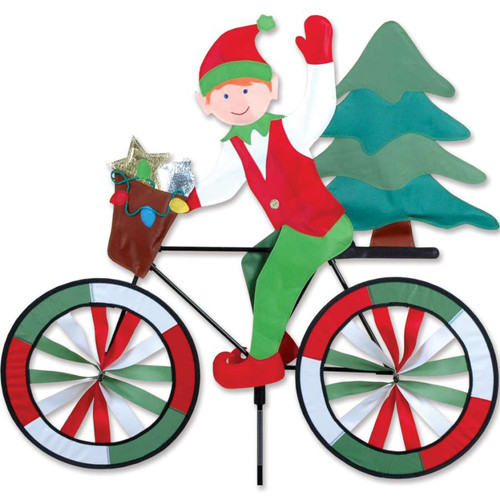 30 Inch Santa's Christmas Elf Bike Wind Spinner