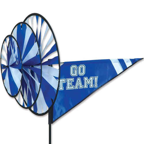33 Inch Blue and White Go Team Triple Wind Spinner