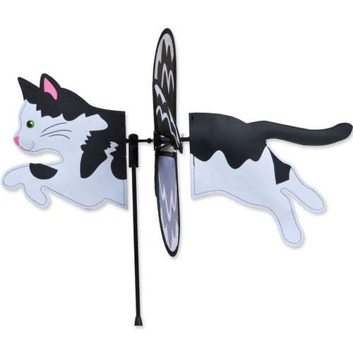 19 Inch Black and White Cat Petite Wind Spinner