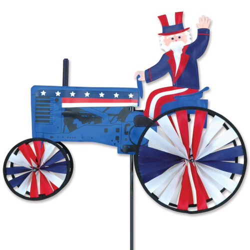 22 Inch Patriotic Uncle Sam on a Tractor Wind Spinner