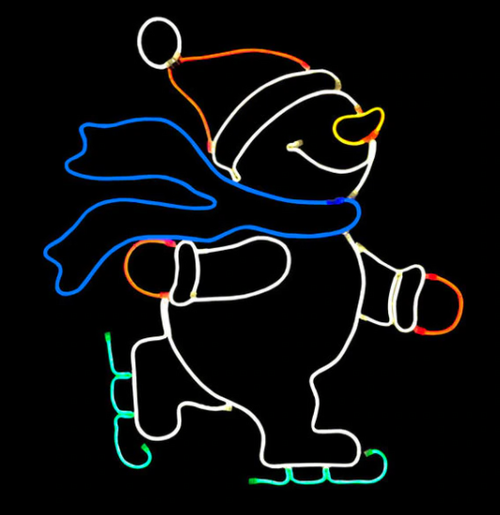 2x2 Foot Skating Snowman Neon Rope Light Display