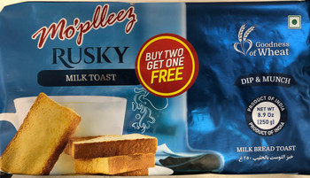 Mopleez Milk Bread Toast(Rusk) - 250g
