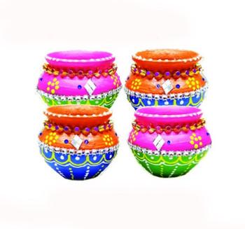 "Matki Diyas With Wax In Gift Box(Set of 4)(3"")(91221)"