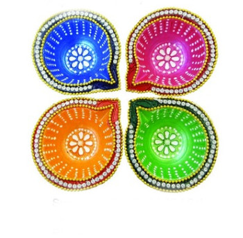 """Hand Painted Diyas In Gift Box(3.5"""")(89873)"""