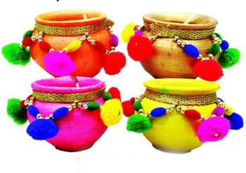 "Matki Diyas With Wax In Gift Box(Set of 4)(3"")(91217)"