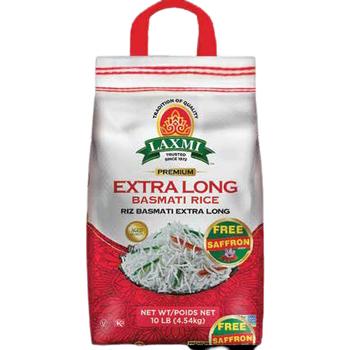 Laxmi Extra Long Grain Basmati Rice With FREE Saffron - 10 Lb
