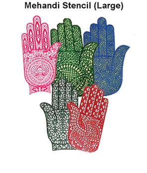 Mehandi Large Henna Stencil For Hand