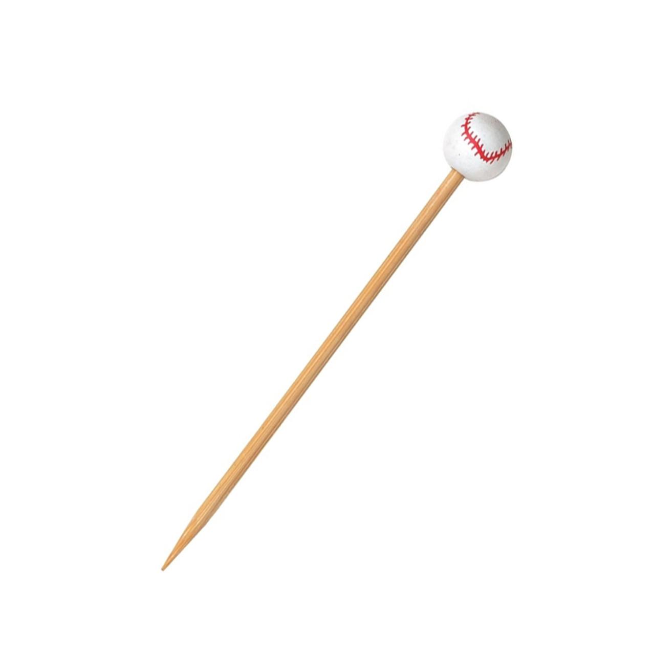 Bamboo Baseball Skewers - L:4.8in