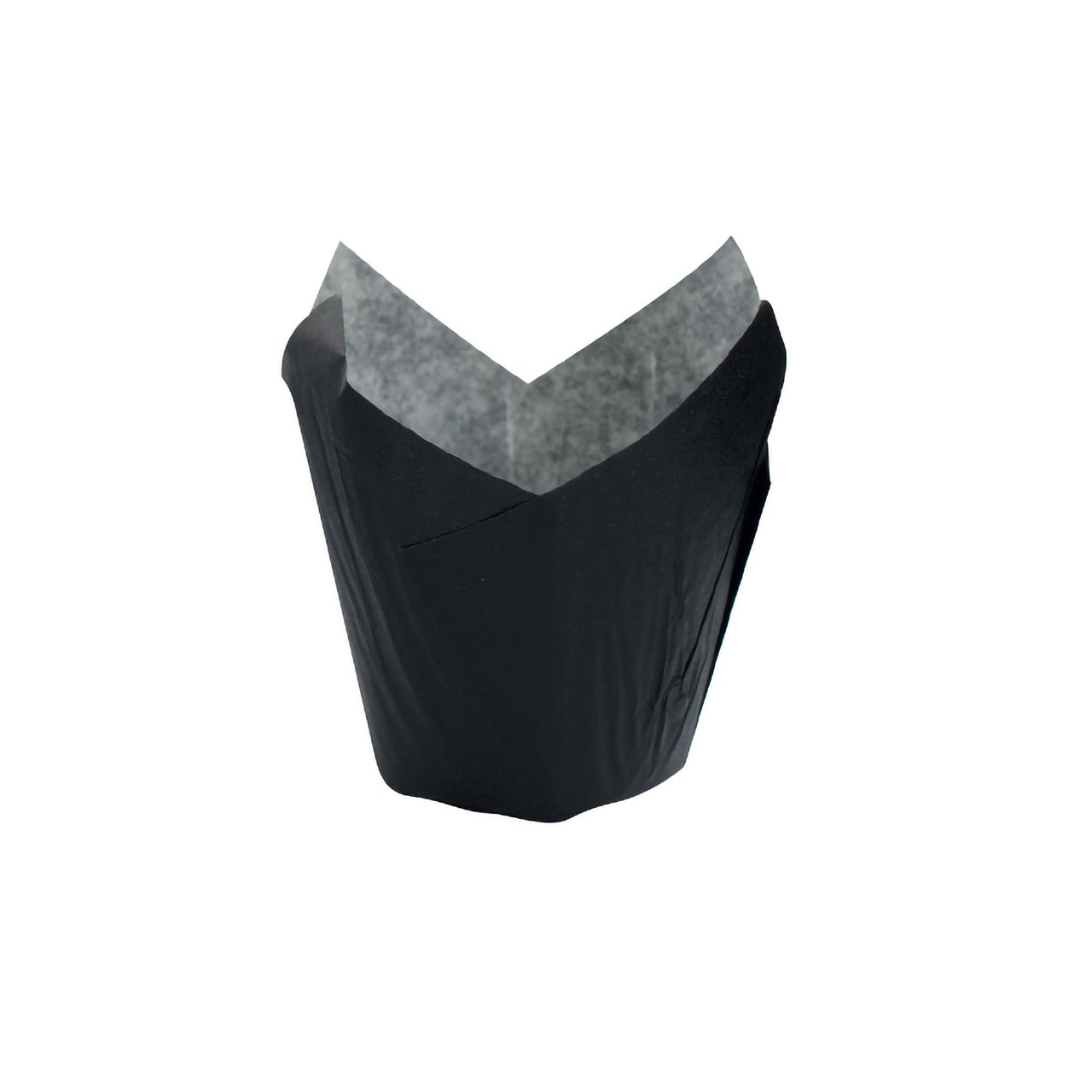 Tulip Black Greaseproof Baking Cup -8oz Dia:4.15in Flat:L:6.8 x W:6.8in
